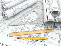 Konzept der Zeichnung. Pläne und Entwurfswerkzeuge. Stockfotos