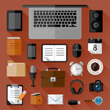 Konzept des Arbeitsplatzes Flache Ikonen Lizenzfreie Stockfotos