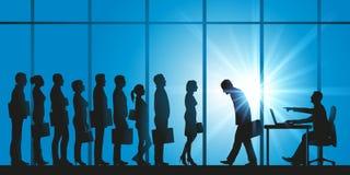 Konzept des Ausfalls eines Kandidaten, der einen Platz in einer Firma beantragt lizenzfreie abbildung