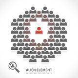 Konzept des ausländischen Elements innerhalb eines Teams Stockbild