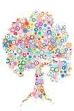 Konzept des Baums auf dem bunten Papier gemacht mit Rüschentechnik O Stockfoto