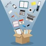 Konzept des Bewegens in ein neues Büro, Stockbilder