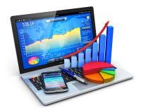 Konzept des beweglichen Büros und des Bankwesens Stockfotografie