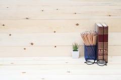 Konzept des Bildungsbuches und -bleistifts Stockfoto