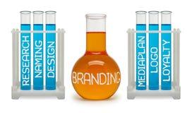 Konzept des Brandings. Cyan-blaue und orange Flaschen. Lizenzfreie Stockfotografie
