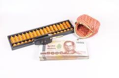 Konzept des Budgets für Autokredit mit Geldbörse Stockbilder