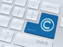 Konzept des Copyright 3d auf Knopf der weißen Computertastatur Lizenzfreie Stockfotografie