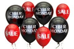 Konzept des Cyber Montag, des Verkaufs und des Rabattes mit Ballonen 3d übertragen Lizenzfreie Stockbilder