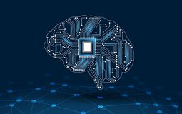 Konzept des Denkens Hintergrund mit dem Gehirn CPU-Sinnes-Reihentechnologie-Symbolthema der Informatik, künstlich lizenzfreie abbildung