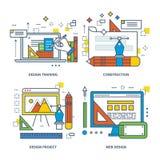 Konzept des Designtrainings, Bau, Projekt, Netz Stockfotos