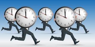 Konzept des Druckes bei der Arbeit, mit einem Mannbetrieb beim eine Uhr symbolisch tragen lizenzfreie abbildung