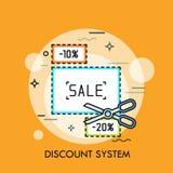 Konzept des Einkaufsrabattsystems, Verkaufsförderung, Speicherrabatte Stockfoto