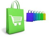 Konzept des Einkaufstasche-on-line-elektronischen Geschäftsverkehrs Stockfoto
