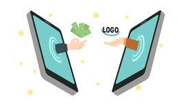 Konzept des Einkommens im Internet, Freiberufler Stockbild