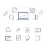 Konzept des Entwurfes für das Studieren, das Lernen, Abstand und on-line-Bildung Farblinienetzfahne und -ikonen eingestellt Auch  Lizenzfreie Stockfotos