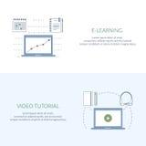 Konzept des Entwurfes für das Studieren, das Lernen, Abstand und on-line-Bildung, Videotutorien Flache Linie Netzfahnen, Ikonen Lizenzfreies Stockbild