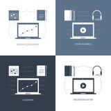 Konzept des Entwurfes für das Studieren, das Lernen, Abstand und on-line-Bildung, Videotutorien Netzfahnen, Ikonen Vektor flach Stockbild
