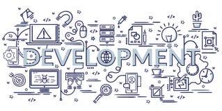 Konzept des Entwurfes für Entwicklung Infographic-Idee der Herstellung von kreativen Produkten stock abbildung