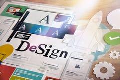 Konzept des Entwurfes für Grafikdesigner- und Designagenturdienstleistungen Stockbilder
