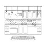 Konzept des Entwurfes des unbedeutenden modernen Küchen-Satzes lizenzfreie abbildung