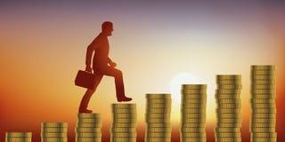 Konzept des Finanzerfolgs mit dem ehrgeizigen Mann, der symbolisch die Treppe hergestellt von den Münzen klettert stock abbildung