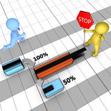 Konzept des Gantt-Diagramms mit Aufgabebeendigung Stockfoto