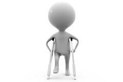 Konzept des gebrochenen Beines des Mannes 3d Lizenzfreies Stockfoto