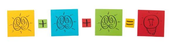Konzept des gemeinsamen Brainstorming. lizenzfreie stockbilder