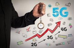 Konzept des Geschäfts 5G Roter Pfeil und Ikonen herum Mann, der Kettenuhr auf weißem Hintergrund hält Lizenzfreies Stockfoto
