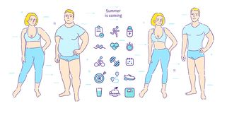 Konzept des gesunden Lebensstils Dicker Mann und Frau Gewicht verlieren Vorher und nachher stock abbildung