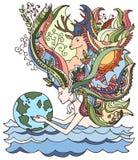 Konzept des glücklichen Tages der Erde am 22. April Ökologie Katze entweicht auf ein Dach vom Ausländer Menschliche haltene Erde Lizenzfreie Stockfotografie