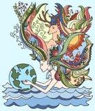 Konzept des glücklichen Tages der Erde am 22. April Ökologie Katze entweicht auf ein Dach vom Ausländer Menschliche haltene Erde Lizenzfreie Stockfotos