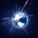 Konzept des globalen Geschäfts. Blaue Version Lizenzfreies Stockfoto