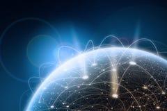 Konzept des globalen Netzwerks Elemente der Wiedergabe 3D Stockfotografie