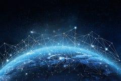 Konzept des globalen Netzwerks Elemente der Wiedergabe 3D dieses Bildes geliefert von der NASA Stockbild