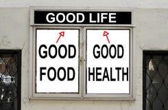 Konzept des guten Lebensmittels und der guten Gesundheit Stockfoto