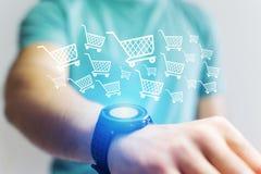 Konzept des Handelns kursiert auf Internet mit einer Technologieschnittstelle Lizenzfreie Stockfotos
