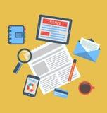 Konzept des kreativen Büroarbeitsplatzes, Arbeitsplatz, modernes flaches ico Stockfoto