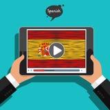 Konzept des Lernens von Sprachen Studien-Spanisch Stockbild