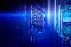 Konzept des Magnetplattenspeicher-Rechenzentrums Informationstechnologie und Datenbank auf technologischem Hintergrund stockbild