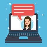 Konzept des Marketing-Antrages Geschäftsfrau oder Manager spricht Stockfotos