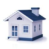 Konzept des neuen Hauses mit dem Immobilienmakler des Grundstücksmaklers, der Miniaturhaus zeigt Lizenzfreie Stockfotografie