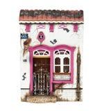Konzept des neuen Hauses mit dem Immobilienmakler des Grundstücksmaklers, der Miniaturhaus zeigt Lizenzfreies Stockfoto