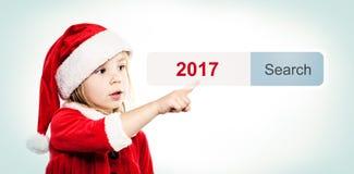 Konzept des neuen Jahres Kind und virtuelle Adresszeile Stockfotografie