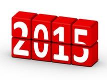 Konzept des neuen Jahres 2015 mit roten Würfeln Lizenzfreie Stockbilder