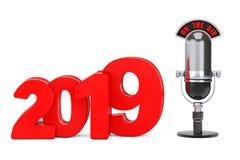 Konzept des neuen Jahres 2019 Neues Jahr-Zeichen des Rot-2019 mit dem Mikrofon lizenzfreie abbildung