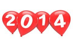 Konzept des neuen Jahres. Rote Weihnachtsballone mit Zeichen 2014 Stockfotos