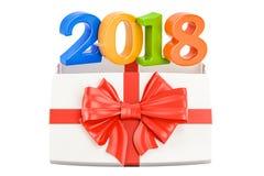 Konzept des neuen Jahres 2018 und Weihnachten Geschenkbox mit 2018, Wiedergabe 3D Lizenzfreies Stockbild