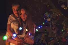 Konzept des neuen Jahres, des Weihnachten und der Familie lizenzfreies stockbild