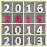 Konzept des neuen Jahres Zahlen im Buchregal Stockbild